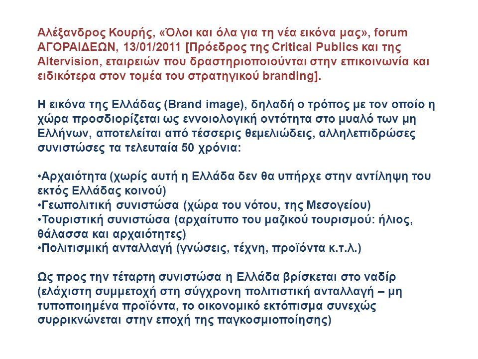 Αλέξανδρος Κουρής, «Όλοι και όλα για τη νέα εικόνα μας», forum ΑΓΟΡΑΙΔΕΩΝ, 13/01/2011 [Πρόεδρος της Critical Publics και της Altervision, εταιρειών πο