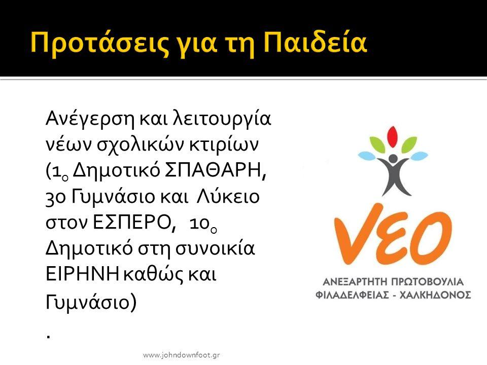 Συντήρηση και αναβάθμιση εγκαταλελειμμένων αθλητικών εγκαταστάσεων www.johndownfoot.gr