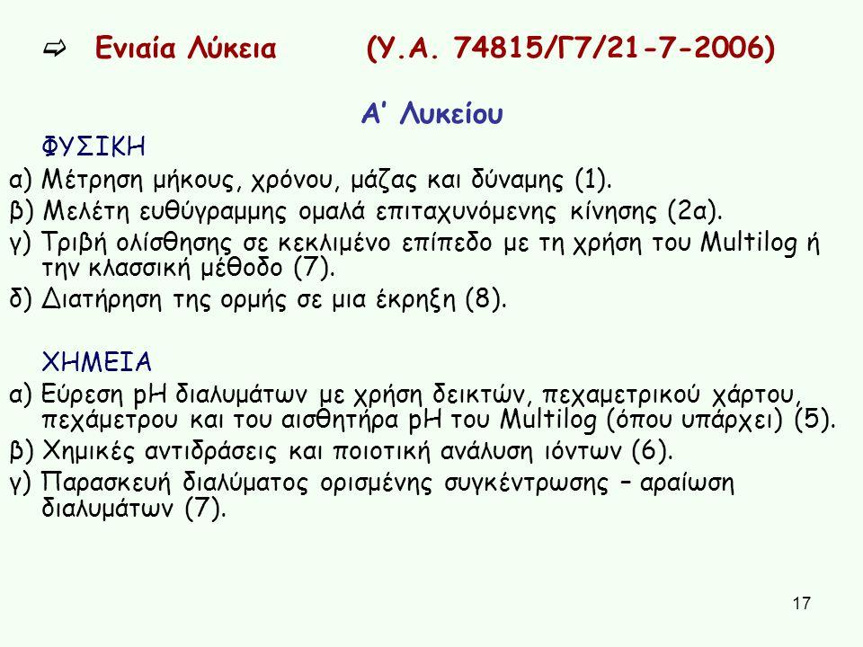 17  Ενιαία Λύκεια (Υ.Α. 74815/Γ7/21-7-2006) Α' Λυκείου ΦΥΣΙΚΗ α) Μέτρηση μήκους, χρόνου, μάζας και δύναμης (1). β) Μελέτη ευθύγραμμης ομαλά επιταχυνό