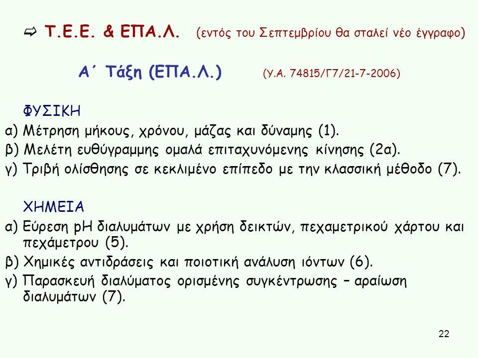 22  Τ.Ε.Ε. & ΕΠΑ.Λ. (εντός του Σεπτεμβρίου θα σταλεί νέο έγγραφο) Α΄ Τάξη (ΕΠΑ.Λ.) (Υ.Α. 74815/Γ7/21-7-2006) ΦΥΣΙΚΗ α) Μέτρηση μήκους, χρόνου, μάζας