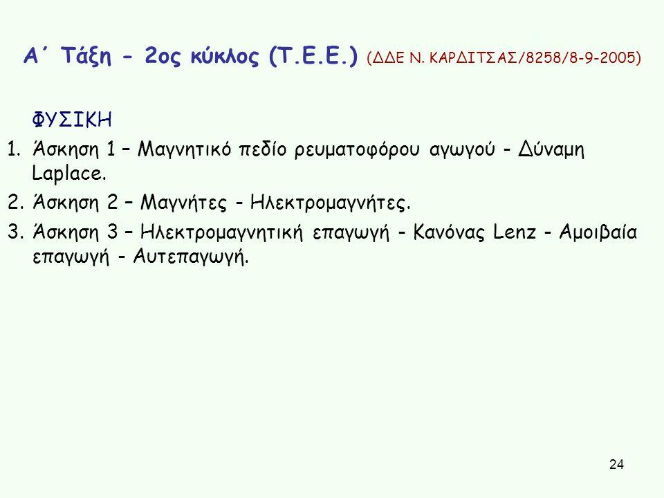 24 Α΄ Τάξη - 2ος κύκλος (Τ.Ε.Ε.) (ΔΔΕ Ν. ΚΑΡΔΙΤΣΑΣ/8258/8-9-2005) ΦΥΣΙΚΗ 1.Άσκηση 1 – Μαγνητικό πεδίο ρευματοφόρου αγωγού - Δύναμη Laplace. 2.Άσκηση 2