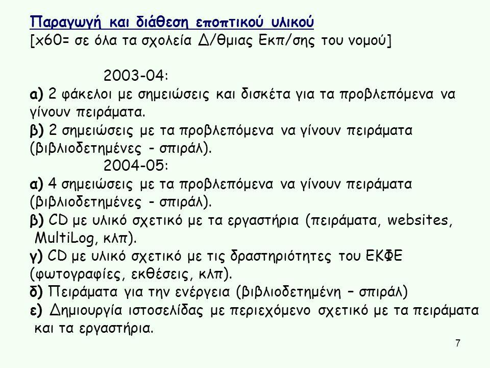 7 Παραγωγή και διάθεση εποπτικού υλικού [x60= σε όλα τα σχολεία Δ/θμιας Εκπ/σης του νομού] 2003-04: a) 2 φάκελοι με σημειώσεις και δισκέτα για τα προβ