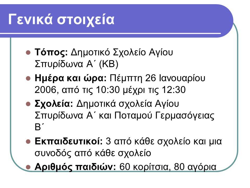 Γενικά στοιχεία  Τόπος: Δημοτικό Σχολείο Αγίου Σπυρίδωνα Α΄ (ΚΒ)  Ημέρα και ώρα: Πέμπτη 26 Ιανουαρίου 2006, από τις 10:30 μέχρι τις 12:30  Σχολεία: Δημοτικά σχολεία Αγίου Σπυρίδωνα Α΄ και Ποταμού Γερμασόγειας Β΄  Εκπαιδευτικοί: 3 από κάθε σχολείο και μια συνοδός από κάθε σχολείο  Αριθμός παιδιών: 60 κορίτσια, 80 αγόρια