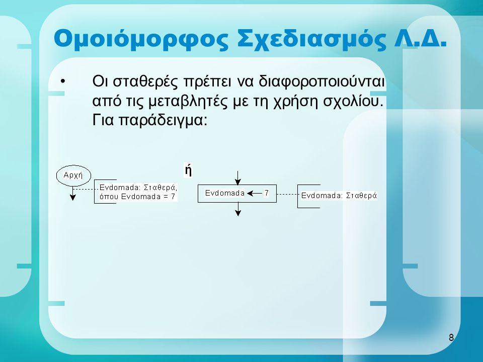 8 Ομοιόμορφος Σχεδιασμός Λ.Δ. •Οι σταθερές πρέπει να διαφοροποιούνται από τις μεταβλητές με τη χρήση σχολίου. Για παράδειγμα: