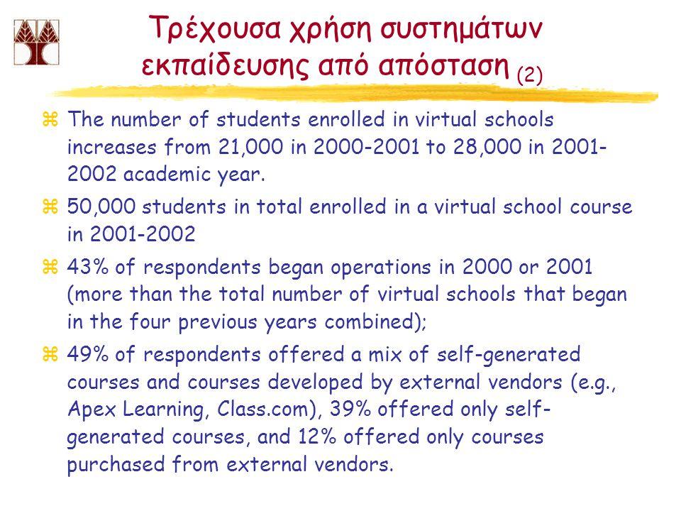 Τρέχουσα χρήση συστημάτων εκπαίδευσης από απόσταση (2) zThe number of students enrolled in virtual schools increases from 21,000 in 2000-2001 to 28,000 in 2001- 2002 academic year.