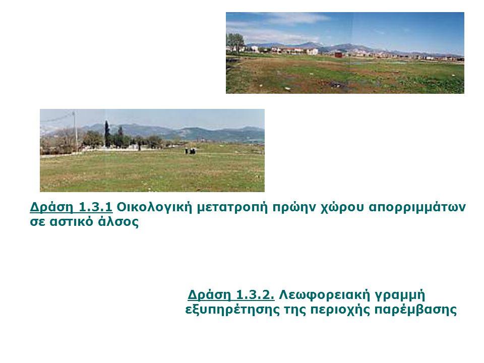 Δράση 1.3.2. Λεωφορειακή γραμμή εξυπηρέτησης της περιοχής παρέμβασης Δράση 1.3.1 Οικολογική μετατροπή πρώην χώρου απορριμμάτων σε αστικό άλσος