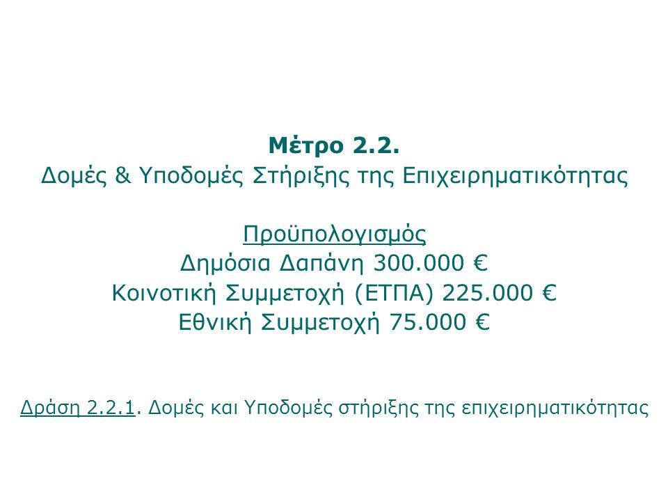 Μέτρο 2.2. Δομές & Υποδομές Στήριξης της Επιχειρηματικότητας Προϋπολογισμός Δημόσια Δαπάνη 300.000 € Κοινοτική Συμμετοχή (ΕΤΠΑ) 225.000 € Εθνική Συμμε