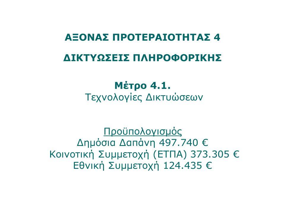 ΑΞΟΝΑΣ ΠΡΟΤΕΡΑΙΟΤΗΤΑΣ 4 ΔΙΚΤΥΩΣΕΙΣ ΠΛΗΡΟΦΟΡΙΚΗΣ Μέτρο 4.1. Τεχνολογίες Δικτυώσεων Προϋπολογισμός Δημόσια Δαπάνη 497.740 € Κοινοτική Συμμετοχή (ΕΤΠΑ) 3