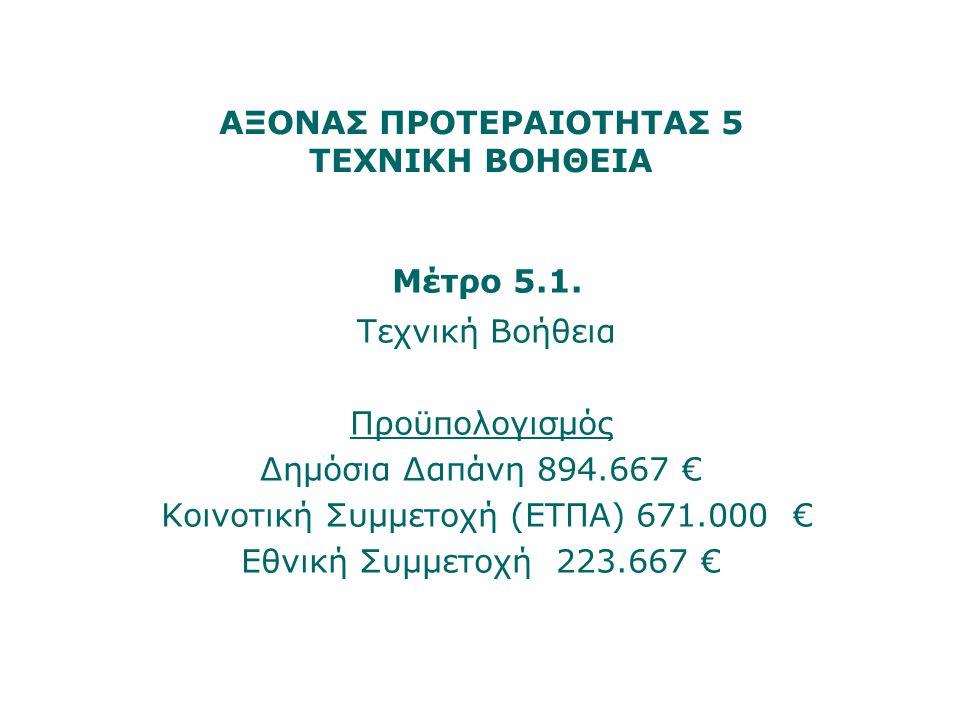 ΑΞΟΝΑΣ ΠΡΟΤΕΡΑΙΟΤΗΤΑΣ 5 ΤΕΧΝΙΚΗ ΒΟΗΘΕΙΑ Μέτρο 5.1. Τεχνική Βοήθεια Προϋπολογισμός Δημόσια Δαπάνη 894.667 € Κοινοτική Συμμετοχή (ΕΤΠΑ) 671.000 € Εθνική