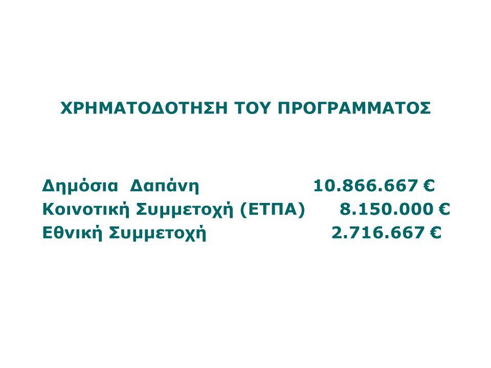 ΧΡΗΜΑΤΟΔΟΤΗΣΗ ΤΟΥ ΠΡΟΓΡΑΜΜΑΤΟΣ Δημόσια Δαπάνη 10.866.667 € Κοινοτική Συμμετοχή (ΕΤΠΑ) 8.150.000 € Εθνική Συμμετοχή 2.716.667 €