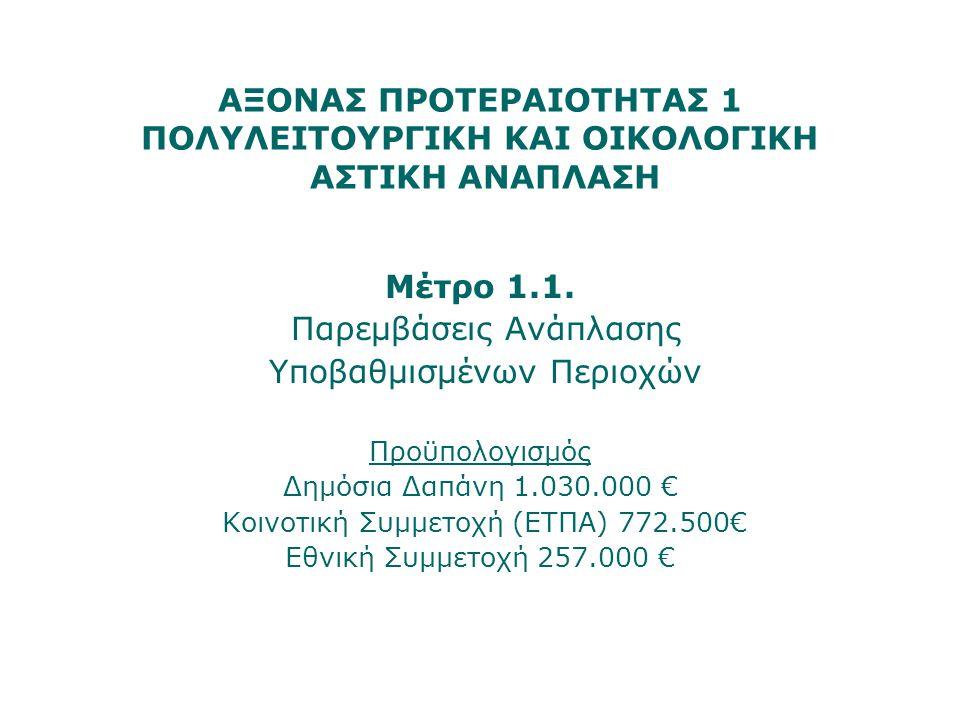 ΑΞΟΝΑΣ ΠΡΟΤΕΡΑΙΟΤΗΤΑΣ 1 ΠΟΛΥΛΕΙΤΟΥΡΓΙΚΗ ΚΑΙ ΟΙΚΟΛΟΓΙΚΗ ΑΣΤΙΚΗ ΑΝΑΠΛΑΣΗ Μέτρο 1.1. Παρεμβάσεις Ανάπλασης Υποβαθμισμένων Περιοχών Προϋπολογισμός Δημόσια