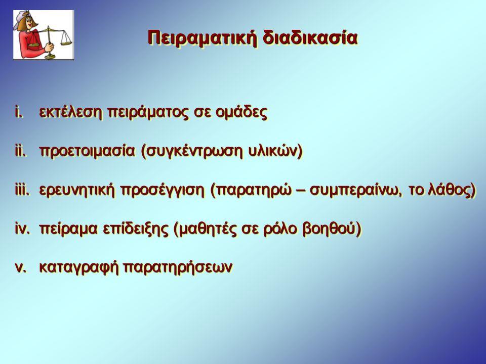 Πειραματική διαδικασία i. εκτέλεση πειράματος σε ομάδες ii. προετοιμασία (συγκέντρωση υλικών) iii. ερευνητική προσέγγιση (παρατηρώ – συμπεραίνω, το λά