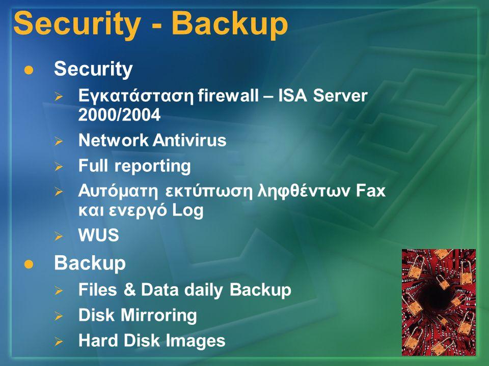 Security - Backup   Security   Εγκατάσταση firewall – ISA Server 2000/2004   Network Antivirus   Full reporting   Αυτόματη εκτύπωση ληφθέντων Fax και ενεργό Log   WUS   Backup   Files & Data daily Backup   Disk Mirroring   Hard Disk Images