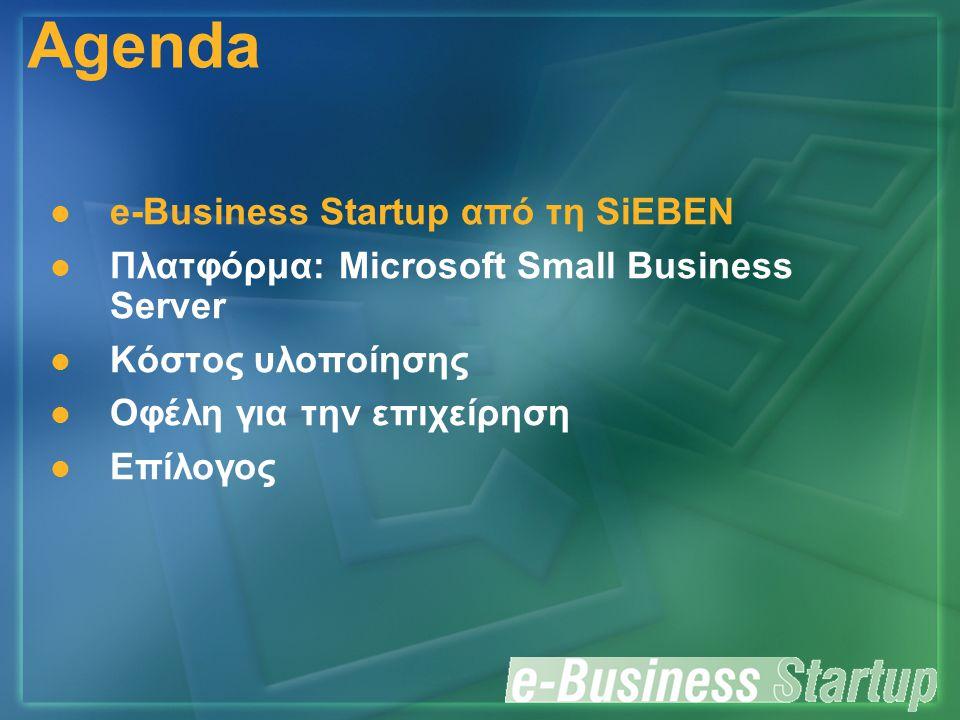 Πλατφόρμα του προϊόντος Microsoft Small Business Server 2000/2003 SOFIA + Κεντρικό Fax + Κεντρικό Internet + FrontPage 2000 + Outlook 2000 Clients + Health Monitor