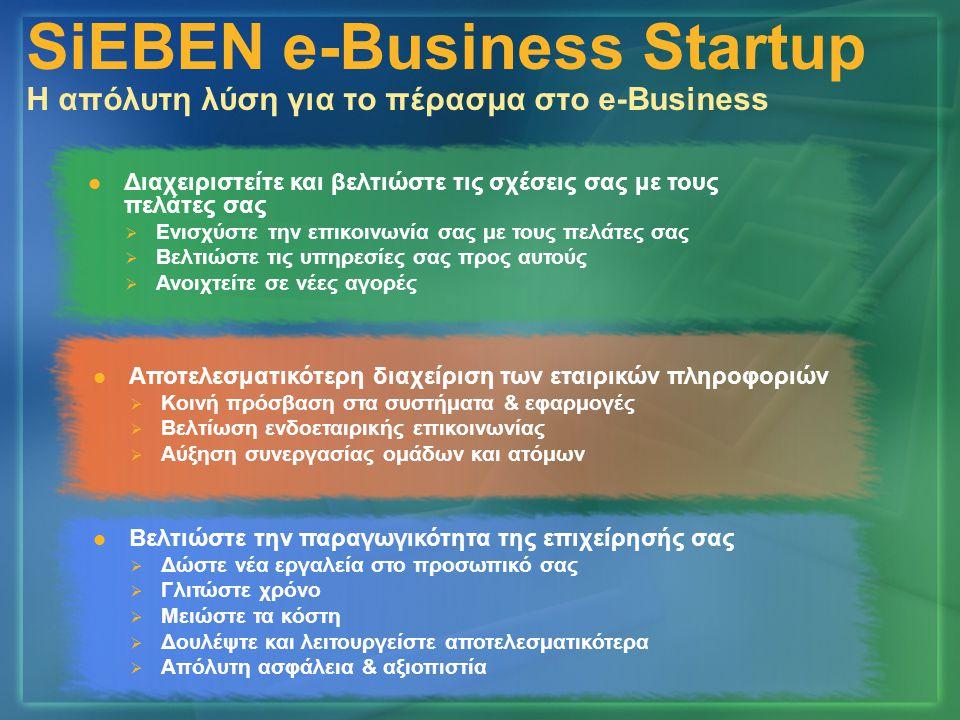 Ανάπτυξη συστήματος Fax Server Ανάπτυξη πλατφόρμα ενδοεταιρικής επικοινωνίας Δημιουργία εταιρικής πύλης Πλατφόρμα διαχείρισης πελατειακών σχέσεων Security - Backup Εσωτερική δικτύωση σταθμών εργασίας SiEBEN e-Business Startup Η απόλυτη λύση για το πέρασμα στο e-Business
