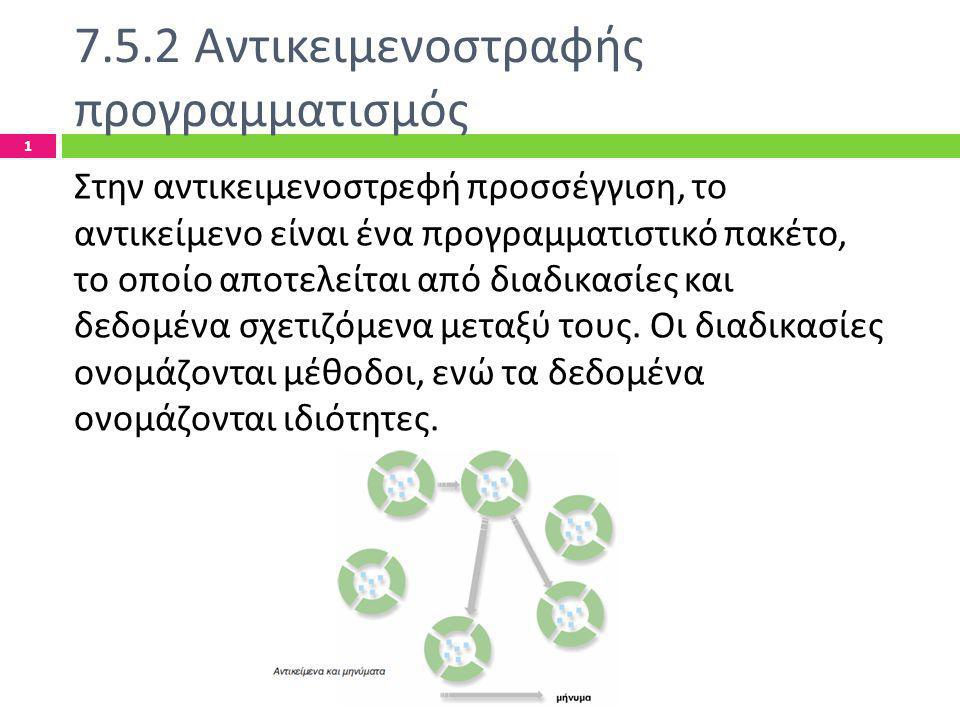 7.5.2 Αντικειμενοστραφής προγραμματισμός Ελληνογαλλική Σχολή Καλαμαρί - Τίκβα Χριστίνα 1 Στην αντικειμενοστρεφή προσσέγγιση, το αντικείμενο είναι ένα