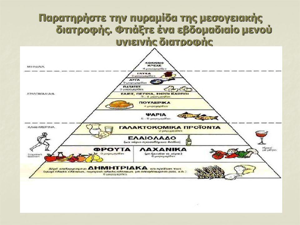 Παρατηρήστε την πυραμίδα της μεσογειακής διατροφής. Φτιάξτε ένα εβδομαδιαίο μενού υγιεινής διατροφής