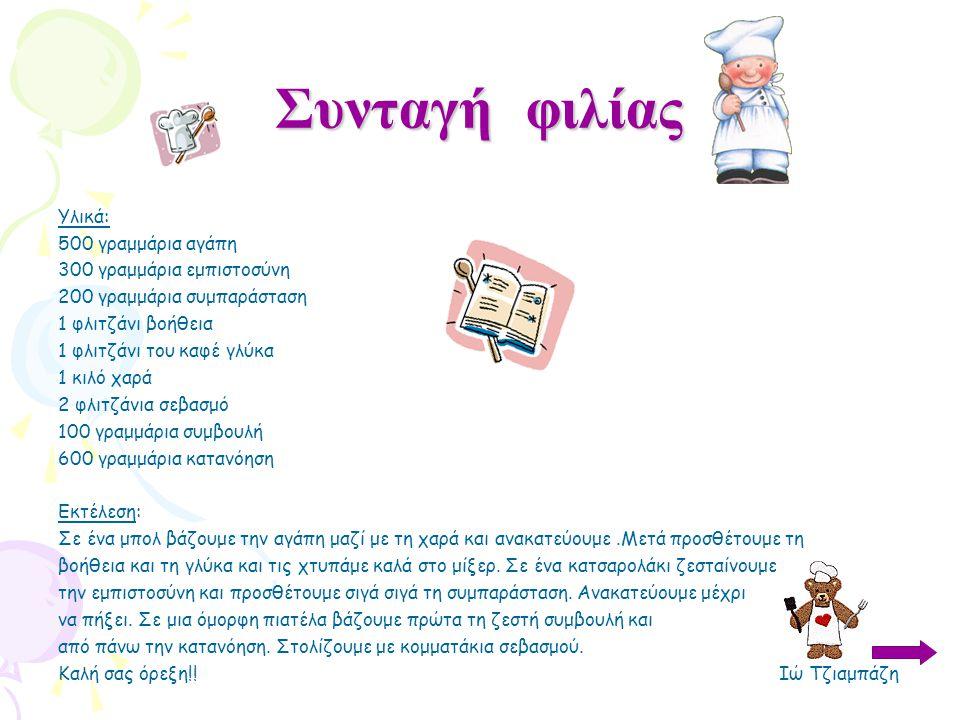 Συνταγή φιλίας Υλικά: 500 γραμμάρια αγάπη 300 γραμμάρια εμπιστοσύνη 200 γραμμάρια συμπαράσταση 1 φλιτζάνι βοήθεια 1 φλιτζάνι του καφέ γλύκα 1 κιλό χαρ