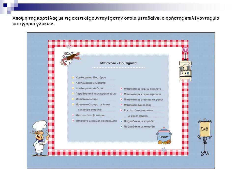 Άποψη της καρτέλας με τις σχετικές συνταγές στην οποία μεταβαίνει ο χρήστης επιλέγοντας μία κατηγορία γλυκών.