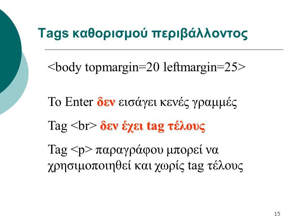 15 Tags καθορισμού περιβάλλοντος δεν Το Enter δεν εισάγει κενές γραμμές δεν έχει tag τέλους Tag δεν έχει tag τέλους Tag παραγράφου μπορεί να χρησιμοπο