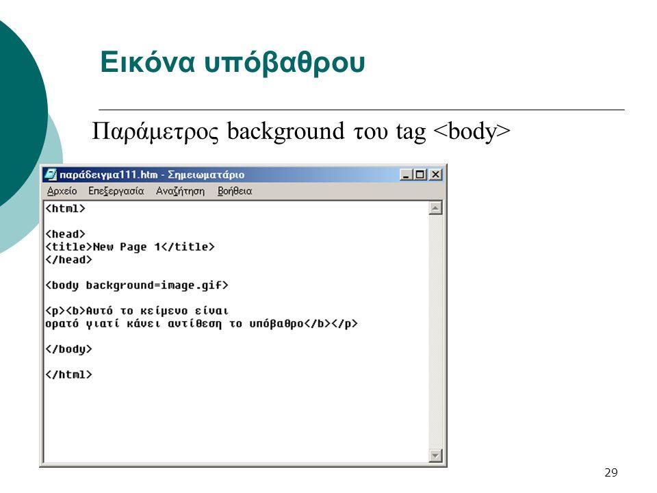 29 Εικόνα υπόβαθρου Παράμετρος background του tag