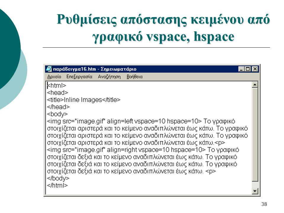 38 Ρυθμίσεις απόστασης κειμένου από γραφικό vspace, hspace