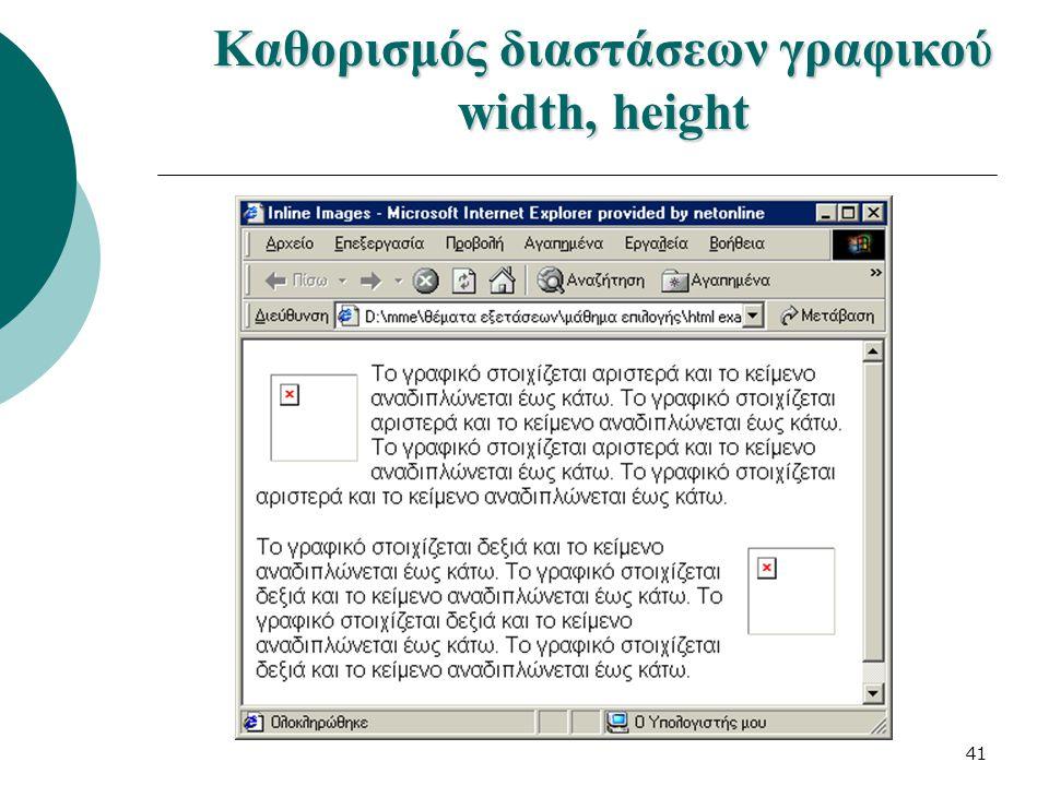 41 Καθορισμός διαστάσεων γραφικού width, height