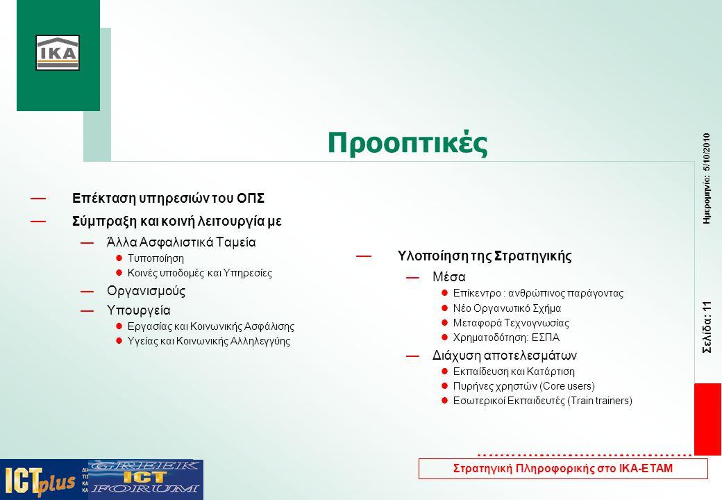 Σελίδα: 11 Ημερομηνία: 5/10/2010 Στρατηγική Πληροφορικής στο ΙΚΑ-ΕΤΑΜ Προοπτικές — Επέκταση υπηρεσιών του ΟΠΣ — Σύμπραξη και κοινή λειτουργία με —Άλλα Ασφαλιστικά Ταμεία  Τυποποίηση  Κοινές υποδομές και Υπηρεσίες —Οργανισμούς —Υπουργεία  Εργασίας και Κοινωνικής Ασφάλισης  Υγείας και Κοινωνικής Αλληλεγγύης — Υλοποίηση της Στρατηγικής —Μέσα  Επίκεντρο : ανθρώπινος παράγοντας  Νέο Οργανωτικό Σχήμα  Μεταφορά Τεχνογνωσίας  Χρηματοδότηση: ΕΣΠΑ —Διάχυση αποτελεσμάτων  Εκπαίδευση και Κατάρτιση  Πυρήνες χρηστών (Core users)  Εσωτερικοί Εκπαιδευτές (Train trainers)