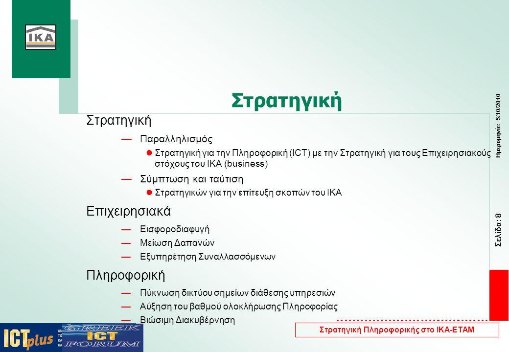Σελίδα: 8 Ημερομηνία: 5/10/2010 Στρατηγική Πληροφορικής στο ΙΚΑ-ΕΤΑΜ Στρατηγική —Παραλληλισμός  Στρατηγική για την Πληροφορική (ΙCΤ) με την Στρατηγική για τους Επιχειρησιακούς στόχους του ΙΚΑ (business) —Σύμπτωση και ταύτιση  Στρατηγικών για την επίτευξη σκοπών του ΙΚΑ Επιχειρησιακά —Εισφοροδιαφυγή —Μείωση Δαπανών —Εξυπηρέτηση Συναλλασσόμενων Πληροφορική —Πύκνωση δικτύου σημείων διάθεσης υπηρεσιών —Αύξηση του βαθμού ολοκλήρωσης Πληροφορίας —Βιώσιμη Διακυβέρνηση
