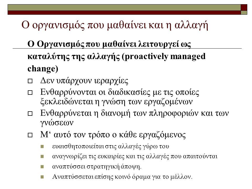Ο οργανισμός που μαθαίνει και η αλλαγή Ο Οργανισμός που μαθαίνει λειτουργεί ως καταλύτης της αλλαγής (proactively managed change)  Δεν υπάρχουν ιεραρ