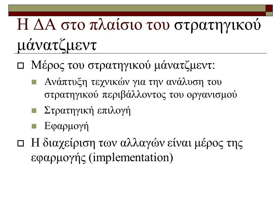 Η ΔΑ στο πλαίσιο του στρατηγικού μάνατζμεντ  Μέρος του στρατηγικού μάνατζμεντ:  Ανάπτυξη τεχνικών για την ανάλυση του στρατηγικού περιβάλλοντος του οργανισμού  Στρατηγική επιλογή  Εφαρμογή  Η διαχείριση των αλλαγών είναι μέρος της εφαρμογής (implementation)