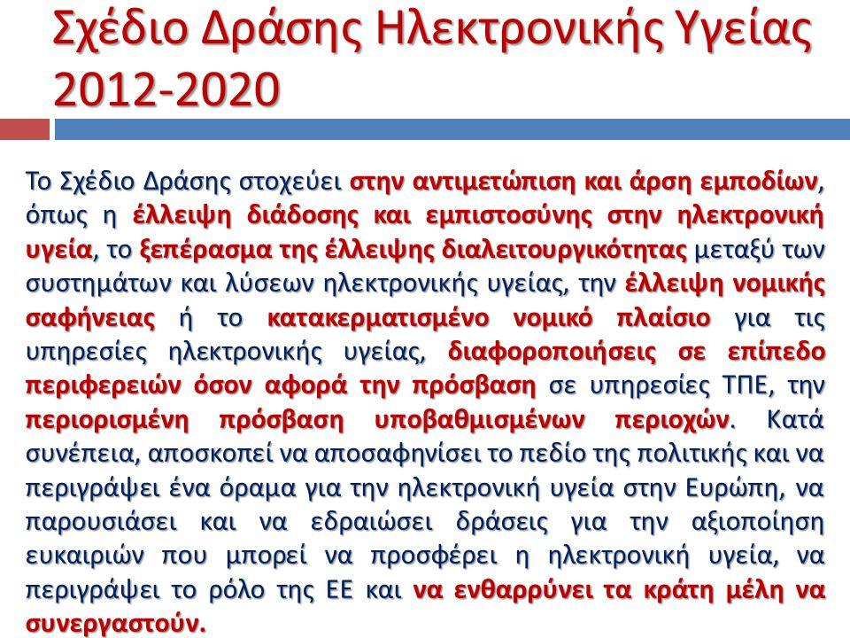 Σχέδιο Δράσης Ηλεκτρονικής Υγείας 2012-2020 Το Σχέδιο Δράσης στοχεύει στην αντιμετώπιση και άρση εμποδίων, όπως η έλλειψη διάδοσης και εμπιστοσύνης στ