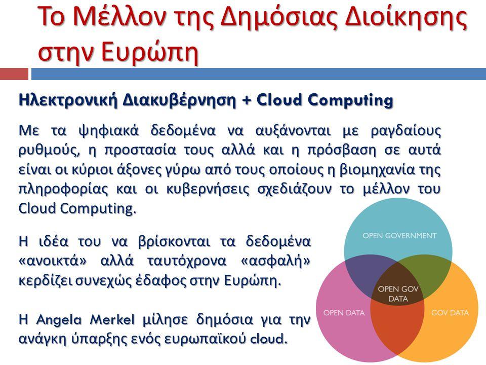 Το Μέλλον της Δημόσιας Διοίκησης στην Ευρώπη Ηλεκτρονική Διακυβέρνηση + Cloud Computing Mε τα ψηφιακά δεδομένα να αυξάνονται με ραγδαίους ρυθμούς, η π