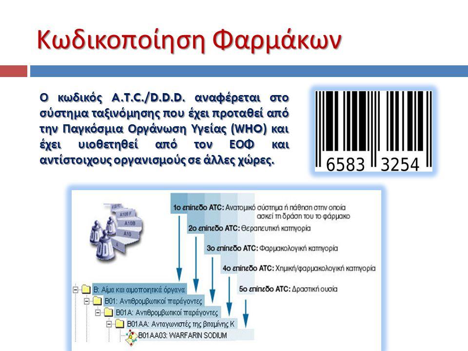 Κωδικοποίηση Φαρμάκων Ο κωδικός A.T.C./D.D.D. αναφέρεται στο σύστημα ταξινόμησης που έχει προταθεί από την Παγκόσμια Οργάνωση Υγείας (WHO) και έχει υι