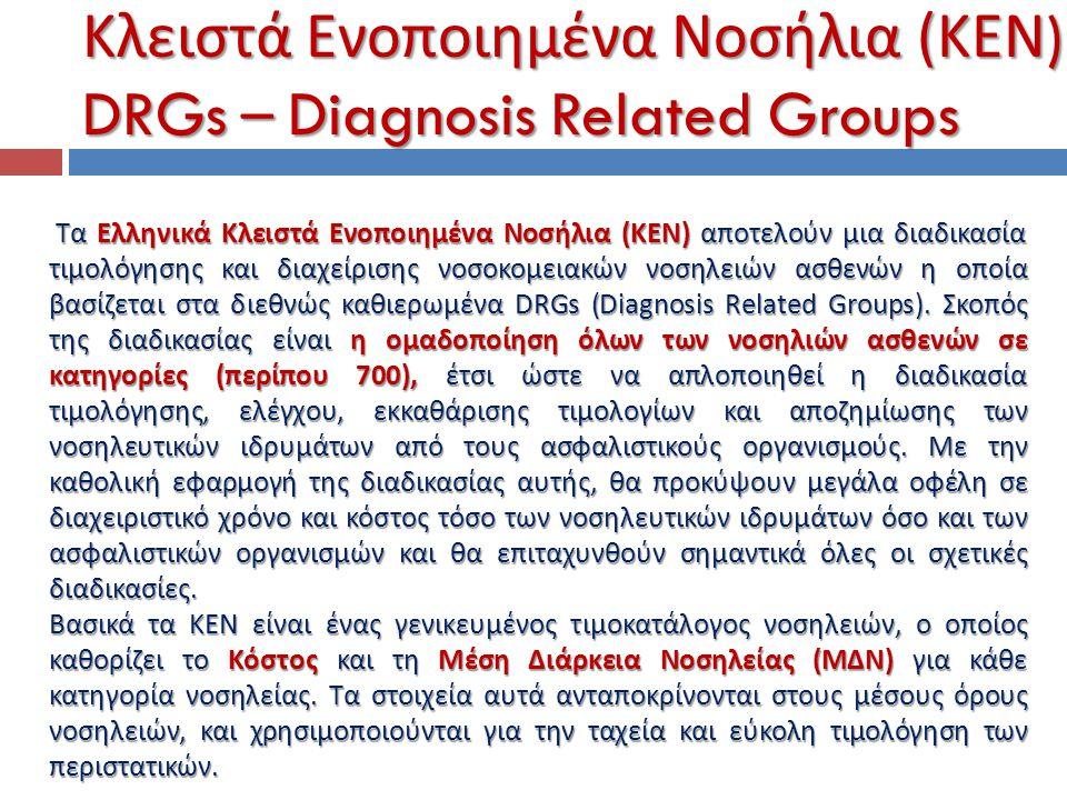 Τα Ελληνικά Κλειστά Ενοποιημένα Νοσήλια (ΚΕΝ) αποτελούν μια διαδικασία τιμολόγησης και διαχείρισης νοσοκομειακών νοσηλειών ασθενών η οποία βασίζεται σ
