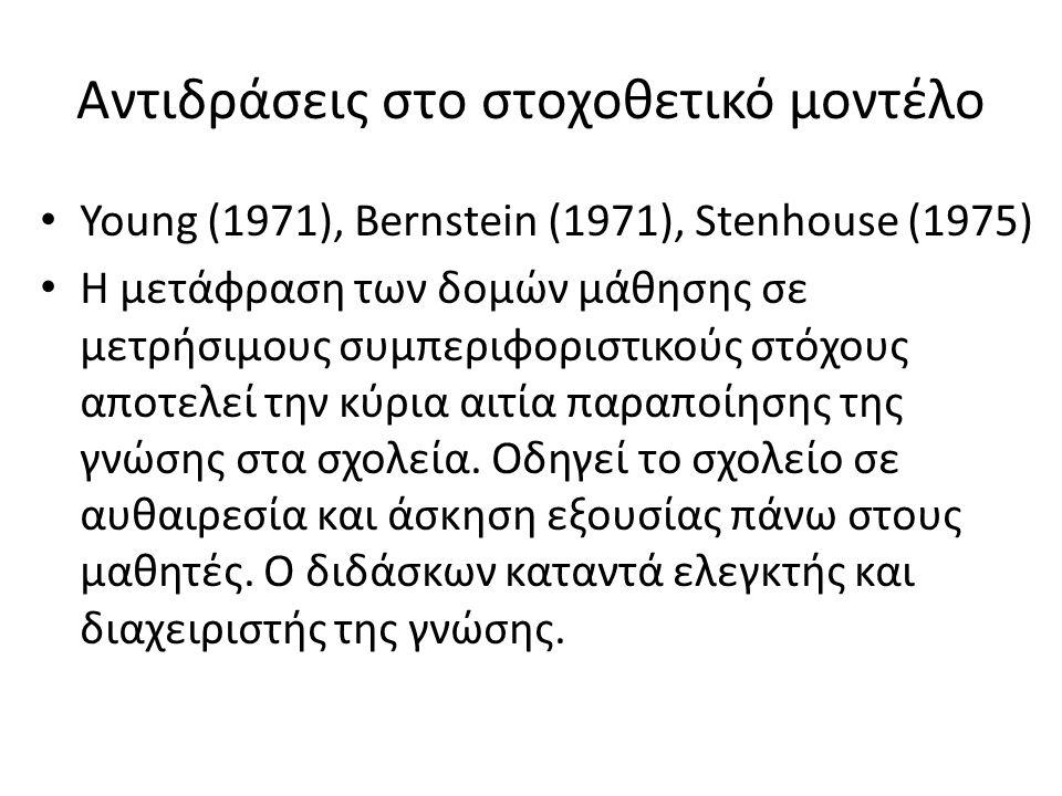 Αντιδράσεις στο στοχοθετικό μοντέλο • Young (1971), Bernstein (1971), Stenhouse (1975) • Η μετάφραση των δομών μάθησης σε μετρήσιμους συμπεριφοριστικο
