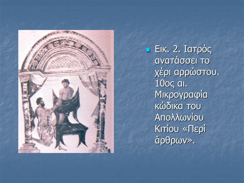  Εικ. 2. Iατρός ανατάσσει το χέρι αρρώστου. 10ος αι. Μικρογραφία κώδικα του Απολλωνίου Κιτίου «Περί ἄρθρων».