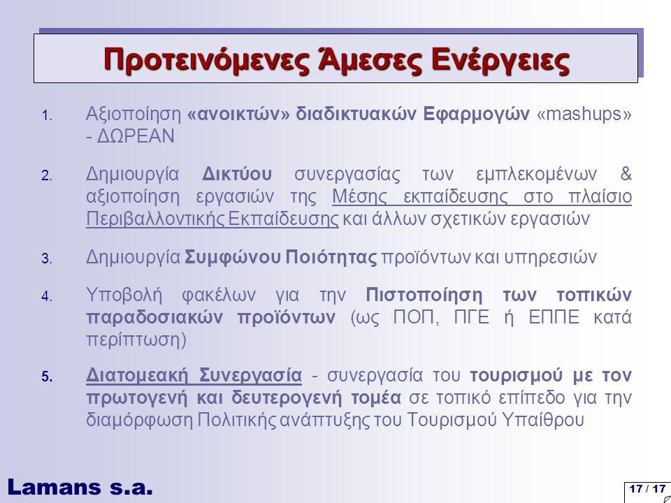 Lamans s.a. 17 / 17 1. Αξιοποίηση «ανοικτών» διαδικτυακών Εφαρμογών «mashups» - ΔΩΡΕΑΝ 2.