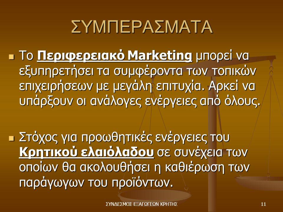 ΣΥΝΔΕΣΜΟΣ ΕΞΑΓΩΓΕΩΝ ΚΡΗΤΗΣ11 ΣΥΜΠΕΡΑΣΜΑΤΑ  Το Περιφερειακό Marketing μπορεί να εξυπηρετήσει τα συμφέροντα των τοπικών επιχειρήσεων με μεγάλη επιτυχία.