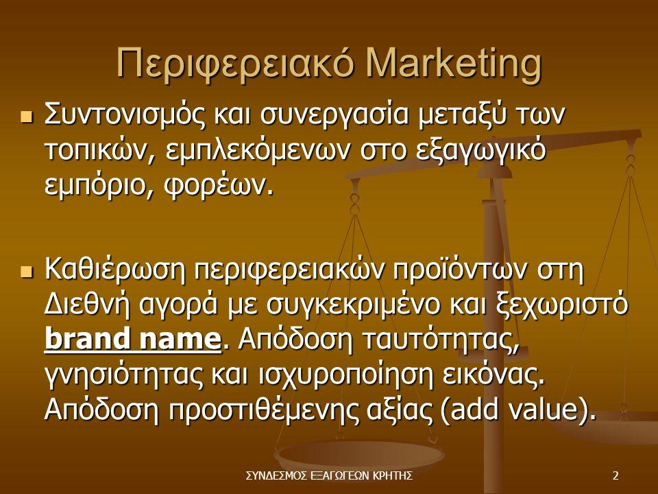 ΣΥΝΔΕΣΜΟΣ ΕΞΑΓΩΓΕΩΝ ΚΡΗΤΗΣ2 Περιφερειακό Marketing  Συντονισμός και συνεργασία μεταξύ των τοπικών, εμπλεκόμενων στο εξαγωγικό εμπόριο, φορέων.