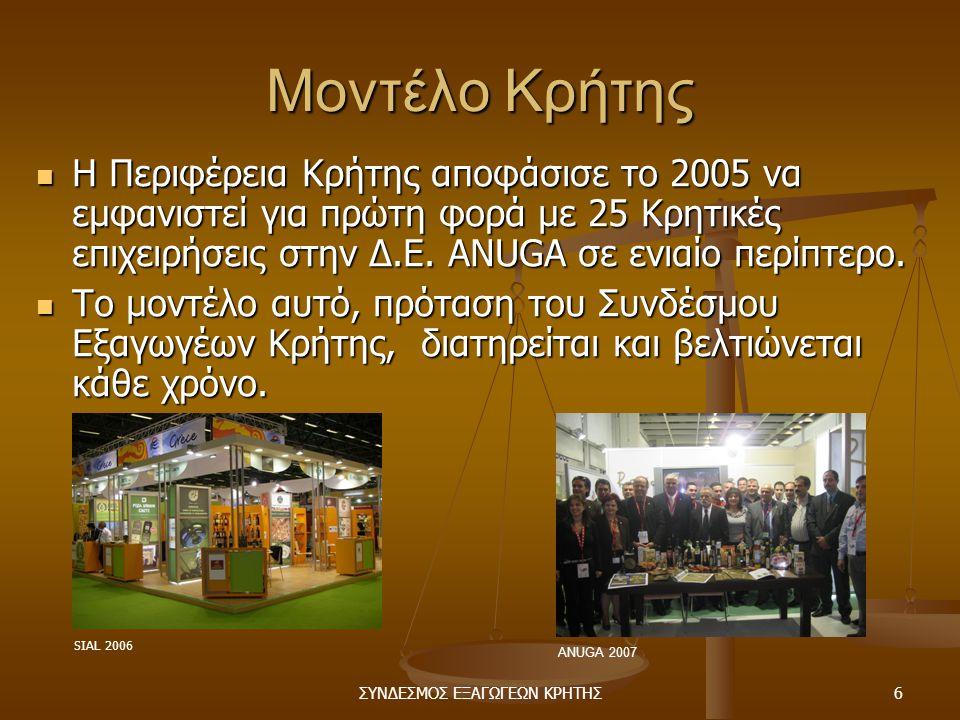 ΣΥΝΔΕΣΜΟΣ ΕΞΑΓΩΓΕΩΝ ΚΡΗΤΗΣ6 Μοντέλο Κρήτης  Η Περιφέρεια Κρήτης αποφάσισε το 2005 να εμφανιστεί για πρώτη φορά με 25 Κρητικές επιχειρήσεις στην Δ.Ε.