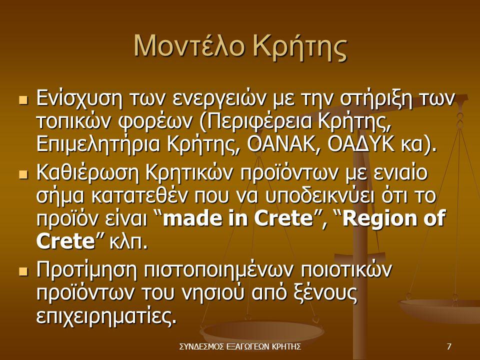 ΣΥΝΔΕΣΜΟΣ ΕΞΑΓΩΓΕΩΝ ΚΡΗΤΗΣ7 Μοντέλο Κρήτης  Ενίσχυση των ενεργειών με την στήριξη των τοπικών φορέων (Περιφέρεια Κρήτης, Επιμελητήρια Κρήτης, ΟΑΝΑΚ, ΟΑΔΥΚ κα).