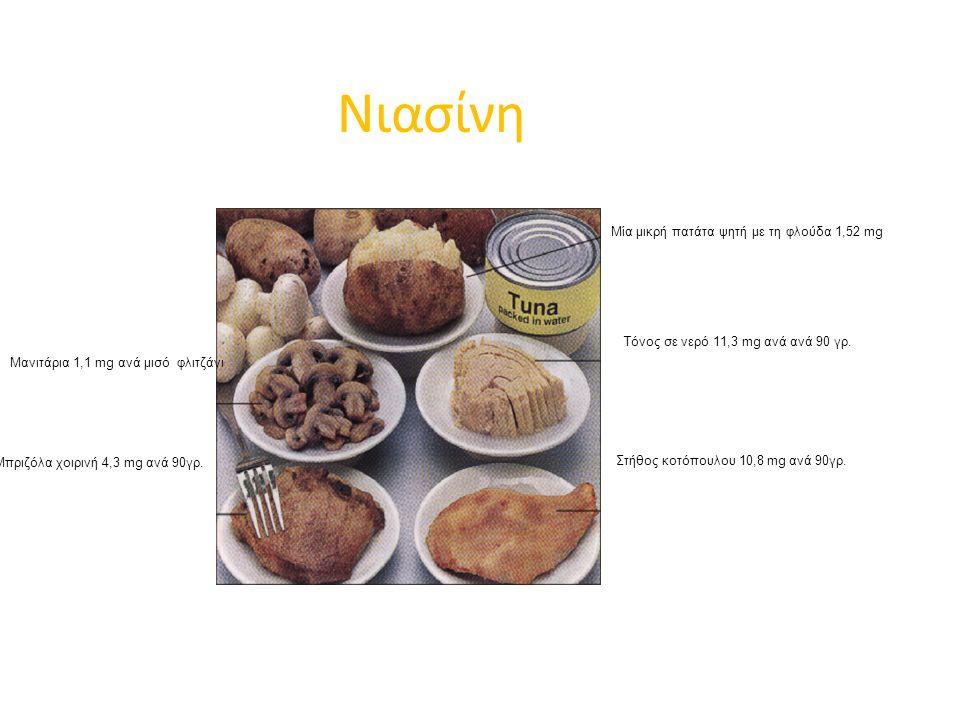 Νιασίνη Μία μικρή πατάτα ψητή με τη φλούδα 1,52 mg Τόνος σε νερό 11,3 mg ανά ανά 90 γρ.
