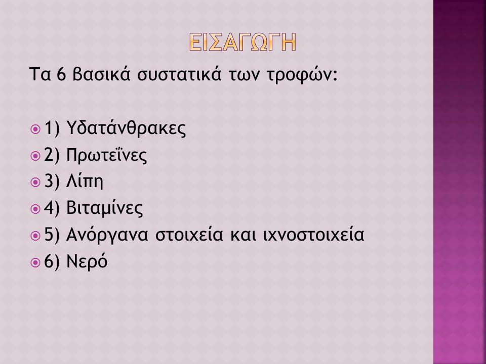 Τα 6 βασικά συστατικά των τροφών:  1) Υδατάνθρακες  2) Πρωτεΐνες  3) Λίπη  4) Βιταμίνες  5) Ανόργανα στοιχεία και ιχνοστοιχεία  6) Νερό
