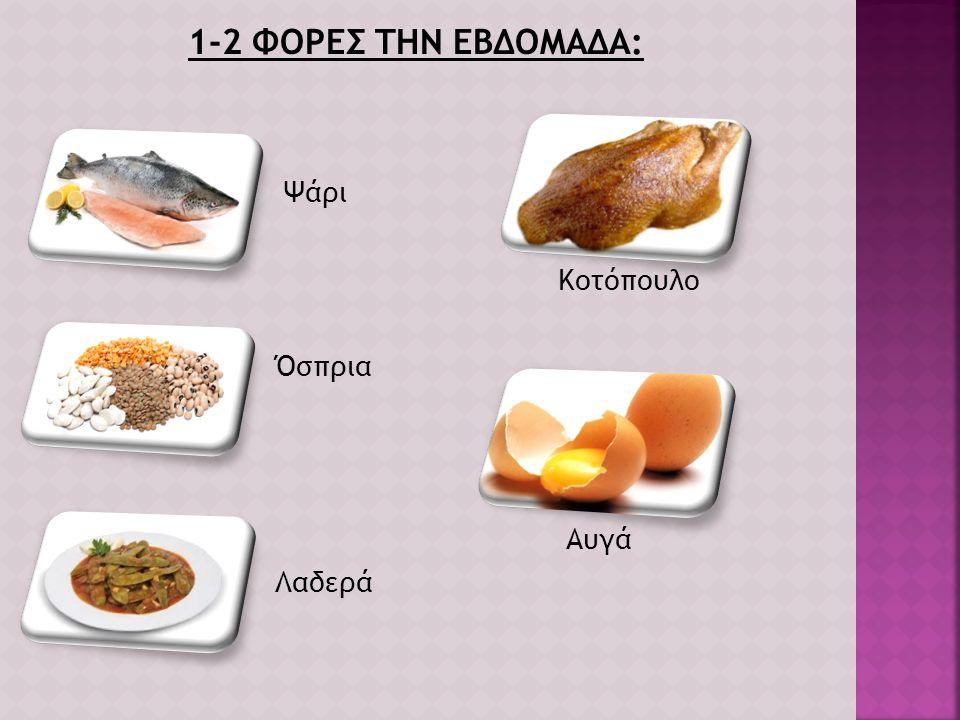 1-2 ΦΟΡΕΣ ΤΗΝ ΕΒΔΟΜΑΔΑ: Ψάρι Κοτόπουλο Όσπρια Αυγά Λαδερά