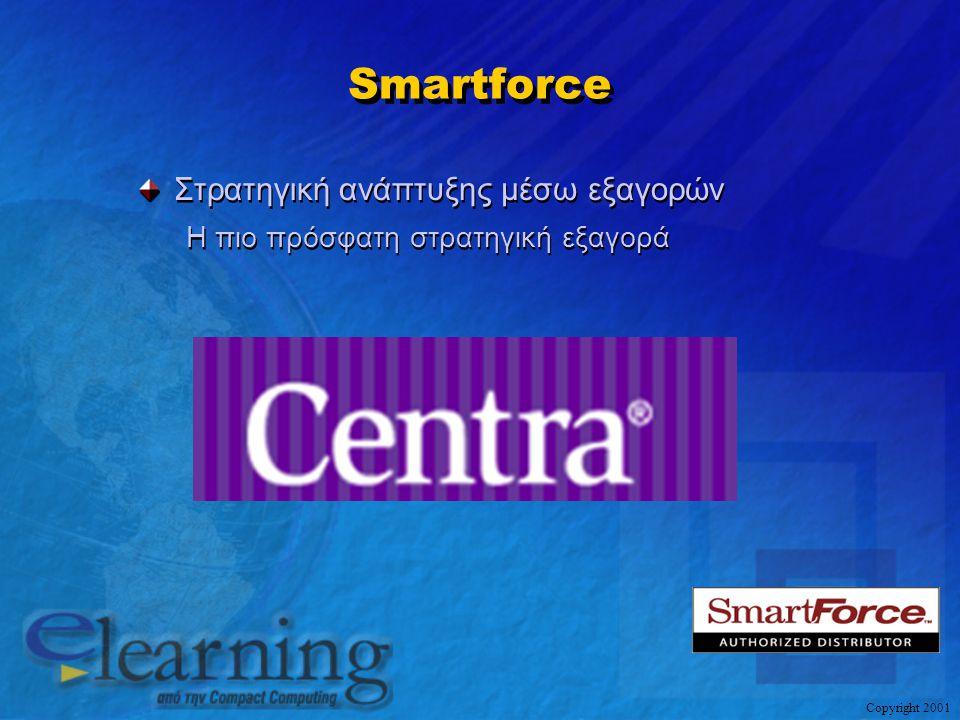 Copyright 2001 Smartforce Στρατηγική ανάπτυξης μέσω εξαγορών Η πιο πρόσφατη στρατηγική εξαγορά Στρατηγική ανάπτυξης μέσω εξαγορών Η πιο πρόσφατη στρατ