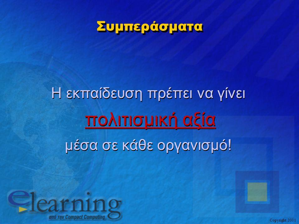 Copyright 2001 Συμπεράσματα Η εκπαίδευση πρέπει να γίνει πολιτισμική αξία μέσα σε κάθε οργανισμό! Η εκπαίδευση πρέπει να γίνει πολιτισμική αξία μέσα σ