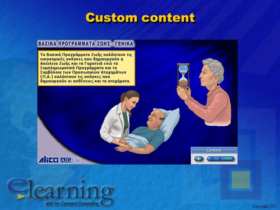 Copyright 2001 Συμπληρωματικές Σκέψεις Χρήση δοκιμασμένου και πιστοποιημένου εκπαιδευτικού περιεχομένου Προσαρμογή του στις γλωσσικές και πολιτισμικές ιδιαιτερότητες των χρηστών Σύγχρονη και ευέλικτη πλατφόρμα διαχείρισης περιεχομένου Ολοκληρωμένες υπηρεσίες υποστήριξης καθ' όλη τη διάρκεια του προγράμματος Εμπειρία στην εφαρμογή αντίστοιχων προγραμμάτων Βαθιά κατανόηση πιθανών αντιστάσεων και προβλημάτων και δοκιμασμένες συνταγές αντιμετώπισης Χρήση δοκιμασμένου και πιστοποιημένου εκπαιδευτικού περιεχομένου Προσαρμογή του στις γλωσσικές και πολιτισμικές ιδιαιτερότητες των χρηστών Σύγχρονη και ευέλικτη πλατφόρμα διαχείρισης περιεχομένου Ολοκληρωμένες υπηρεσίες υποστήριξης καθ' όλη τη διάρκεια του προγράμματος Εμπειρία στην εφαρμογή αντίστοιχων προγραμμάτων Βαθιά κατανόηση πιθανών αντιστάσεων και προβλημάτων και δοκιμασμένες συνταγές αντιμετώπισης