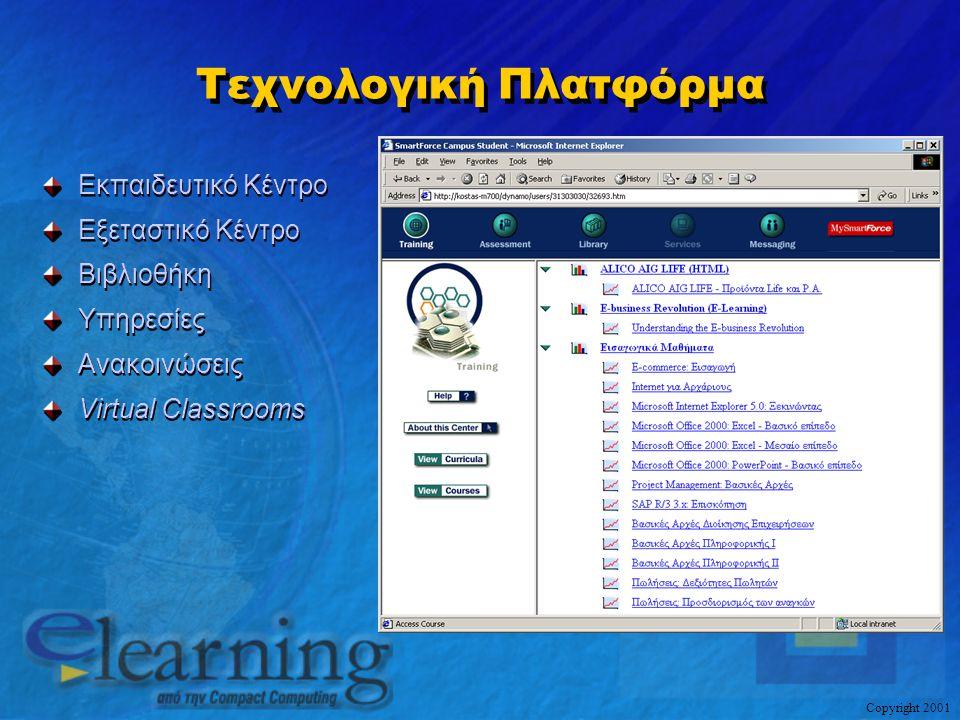 Copyright 2001 Τεχνολογική Πλατφόρμα Εκπαιδευτικό Κέντρο Εξεταστικό Κέντρο Βιβλιοθήκη Υπηρεσίες Ανακοινώσεις Virtual Classrooms Εκπαιδευτικό Κέντρο Εξ