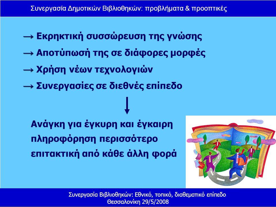 Συνεργασία Δημοτικών Βιβλιοθηκών: προβλήματα & προοπτικές Συνεργασία Βιβλιοθηκών: Εθνικό, τοπικό, διαθεματικό επίπεδο Θεσσαλονίκη 29/5/2008 Τι μπορεί να γίνει ; Ανάληψη πρωτοβουλιών από πλευράς Υπουργείου Εσωτερικών Ίδρυση διεύθυνσης στο Υπουργείο Εσωτερικών στελεχωμένης με εξειδικευμένο προσωπικό Δημιουργία θεσμικού πλαισίου Ένταξη των δημοτικών βιβλιοθηκών σε αναπτυξιακά προγράμματα